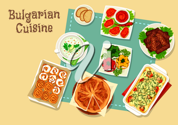 Bulgarian cuisine icon of national food. Stuffed pepper with cheese, grilled meat kebab, tomato pepper sauce, cheese pie, potato meat casserole, cold yogurt cucumber soup, sweet bun with cream