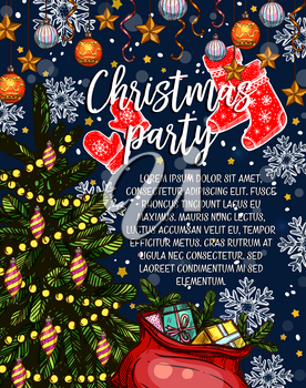 Christmas party winter holiday greeting card or invitation poster sketch design. Vector Christmas tree and gift stockings or Santa bag, garland lights and golden ball and star for party celebration
