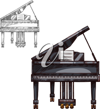 Piano music string keyboard instrument sketch icon. Vector isolated vintage or black wooden retro classic grand fortepiano for classic music concert design or orchestra festival design