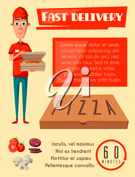 Pizza delivery poster for pizzeria fast food cafe or restaurant. Vector flat design of pizza delivery man with box of margherita or capricciosa ingredients tomato, salami pepperoni and mushrooms