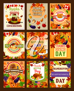 Thanksgiving day greeting posters of turkey and wine, fruit pie, pumpkin or corn, maple leaf or oak acorn on pilgrim hat. Vector Thanksgiving cornucopia harvest for traditional thankful holiday