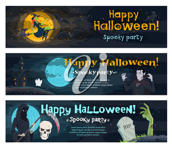 Halloween holiday spooky party invitation banner. Ghost haunted house, witch, bat and black cat, horror skull, skeleton with death scythe, zombie and vampire on cemetery for Halloween night design