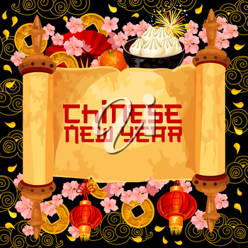 Chinese New Year hieroglyph wish text on paper scroll for lunar spring holiday greeting card design. Vector gold coins, red lanterns or Chinese dumplings and cherry blossom with golden cloud pattern