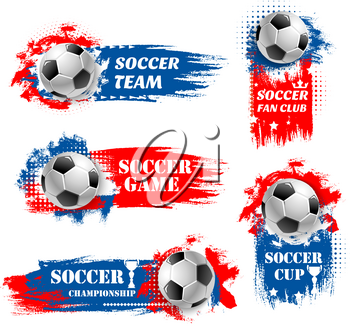 Soccer game tournament backdrops for football championship or fan club and sports league team icons or background. Vector soccer ball goal on white, blue and red colors for international football cup