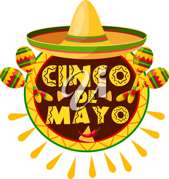 Mexican Cinco de Mayo holiday sombrero, maracas and pepper greeting card. Latin american fiesta party hat, maracas and chili or jalapeno with nachos icon for Puebla battle victory celebration design