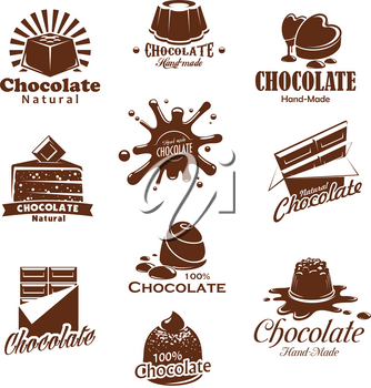 Chocolate candies and comfits desserts or choco splash icons for product packaging design template. Vector isolated set of chocolate candy bar or cake and pie for patisserie or confectionery