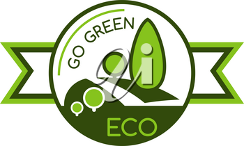 Icon with symbol of saving world environment. Eco and green concept badge. Symbol of green trees and save nature. Nature concept with green trees and the text Go Green. Sign for eco company, ecology concept