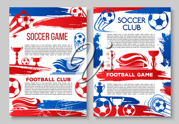 Soccer cup championship posters design template for international football cup tournament. Vector soccer league team flags and cup award, victory laurel or stars on arena stadium