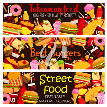Street food burger cafe menu banners design template for fast food restaurant bistro takeaway menu. Vector cheeseburger or hamburger and hot dog sandwich, donut cake and coffee or soda, pizza or fries