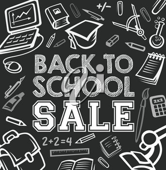 Back to School sale blackboard poster for September autumn seasonal education promo offer. Vector school bag, books or paint brush and microscope, chemistry copybook or ruler and globe on chalkboard