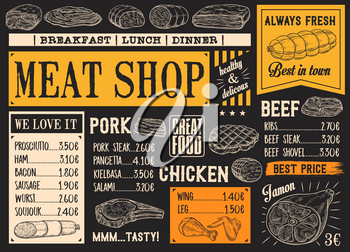 Meat product sketches on chalkboard. Vector beef steak and sausage, ham and pork bacon, salami and gamon, frankfurter and pepperoni, chicken. Butcher shop menu for breakfast, lunch or dinner
