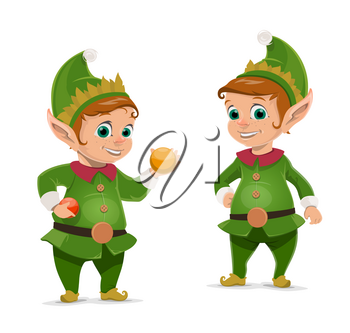 Christmas elves cartoon characters of Santa Claus helpers. Vector dwarfs or little peoples in green suits and hats with Xmas tree balls and baubles. Gift workshop workers, winter holidays design