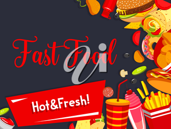 Fast food menu poster template for fastfood restaurant or cinema bar bistro. Vector design of pizza, cheeseburger or hamburger and hot dog sandwich, donut dessert and coffee or soda drink
