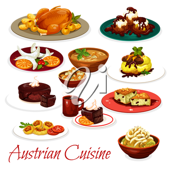 Austrian cuisine meat and vegetable dishes with desserts. Vector potato pasta with cabbage, tyrolean beef stew goulash and baked goose, chocolate cake sacher, cheese knodel, beer soup and nut cookie