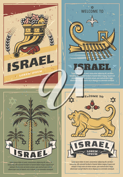 Welcome to Israel travel poster with jewish religion symbols. Star of David, Jerusalem lion of Judah and cornucopia with pomegranate, grape and wheat, date palm and boat of Zebulun pride. Vector theme