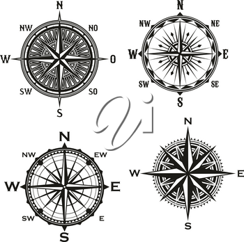 Rose of Winds symbol of nautical navigation compass, marine and seafarer theme. Vector icons of ship sail navigator with direction arrow pointers to East, West or North and South