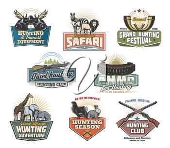 Safari hunting sport icons and signs. Real and legal safari during hunting season retro emblems, vector hunting guns. Wild African zebra and lion, giraffe elephant and rhino, capercaillie and rabbit.