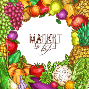 Vegetables and fruits market sketch color poster of fresh organic veggie, apple or pumpkin, natural vegetarian cauliflower or broccoli cabbage, grape and tropical pineapple or eggplant and pomegranate