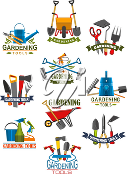 Gardening tool and equipment for garden work isolated icon. Shovel, rake and fork, watering hose and can, axe, saw and wheelbarrow, scissors, cutter and pitchfork symbol for gardener instrument design