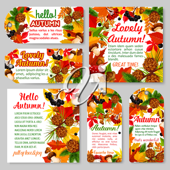Hello Autumn banner and fall season tag set. Fall leaf and forest nature card with yellow foliage, mushroom, acorn branch, rowan and briar berry, pine cone frame for autumn season label design