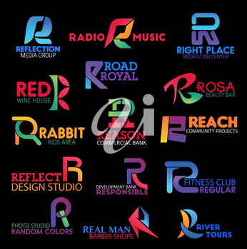 Letter R icons. Vector finance, travel and sport, education, music and health care symbols. Modern R letters bank, fitness club and medical clinic corporate identity elements