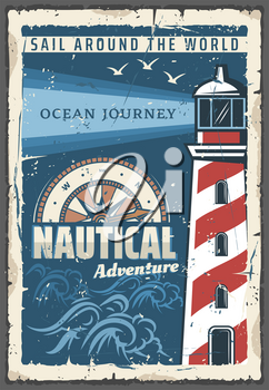 Lighthouse nautical adventure retro poster safety of navigation symbol. Tower containing beacon light to warn or guide ships at sea, compass and seagulls. Vector marine lighthouse, maritime building
