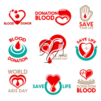 Blood donation icons for World Blood Donor Day symbol. Red drop, heart and helping hand, isolated badge, decorated by heartbeat and ribbon banner for transfusion laboratory design