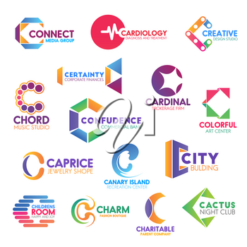 Corporate identity letter C business icons. Vector media and medicine, design and finance, music and banking, brokerage and art. Jewelry and recreation, building and entertainment, fashion and charity