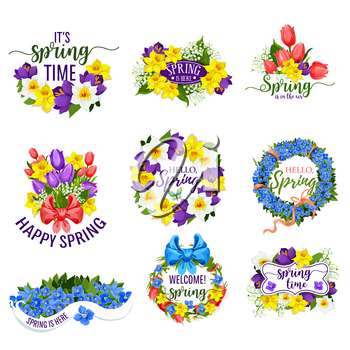 Hello Spring flowers and floral bunches. Vector blooming bouquets of springtime tulips, daffodils or crocuses, narcissus or lily of valley flower with bow ribbons. Design for spring holiday greeting