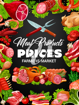 Meat, beef and pork sausages vector poster in frame of steak, salami and ham, chicken, bacon and lamb ribs, barbecue patty, pepperoni and frankfurters with herbs and spices. Butchery shop design