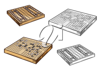 Japanese go and shogi chess game vector icons. Strategy oriental game on wooden board. Entertainment amusement, intellectual contest mind sport. Monochrome battleground color play pieces