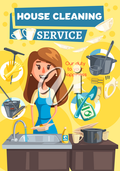 Home kitchen and rooms cleaning service, woman washing dishes or utensil in dishwasher or sin, mop with water bucket and soap detergent, sponges and brushes. Vector design