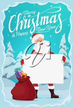 Santa Claus with Christmas gifts in red bag, blank sign board and sack full of present boxes in frame of snow and snowflake. Vector greeting card with wishes of Merry Christmas and Happy New Year