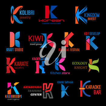 Letter K corporate identity icons and business company emblems. Vector K signs jewelry shop, craft studio or invest group and karaoke bar, kickboxing sport center or event agency and kitchen store