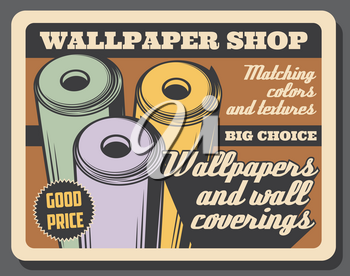 Home renovation and repair, wallpapers shop vintage poster. Vector house construction premium quality tools, wall coverings and interior decor accessories at good price