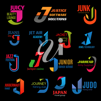 Letter J icons, business corporate identity. Vector J symbol, jazz music festival and dance school or judo sport center, fishing journey club or air academy and sewing company or jewelry technology