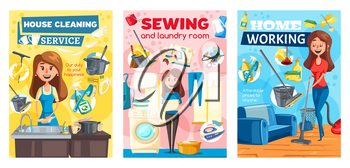 Home cleaning and housewife house service posters. Vector home laundry, dishwashing and sewing service, housewife mopping floor, washing dishes in kitchen, cleaning upholstery and ironing clothes