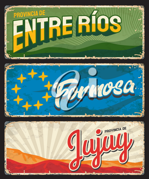 Formosa, Entre Rios and Jujuy regions, Argentine provinces vintage plates. Vector yellow stars, green river banks and Hill of seven colors, Argentina travel or tourism grunge signs and retro stickers