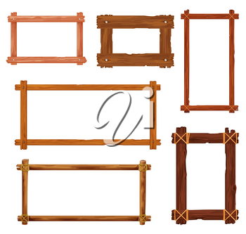 Cartoon wooden frames and borders. Vector wood boards, brown old planks and panels with splits, cracks, nails and ropes. Room interior , photo or painting frame, game interface design