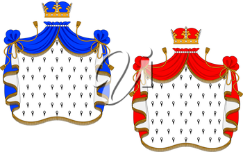 Royalty Free Clipart Image of Red and Blue Royal Mantels