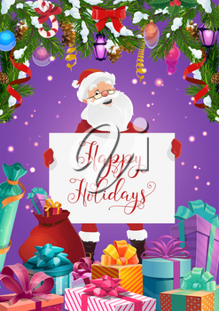 Santa with Happy Christmas Holidays greeting card in frame of Xmas gifts. Vector New Year present boxes, ribbons, bows and snow, pine and fir branches with balls, candy cane, lights and snowflake
