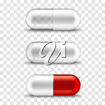 Pill capsule transparent white and red medication mockup template. Vector isolated realistic capsule pill with medicine granules, vitamin, dietary supply and pharmacy medication symbol