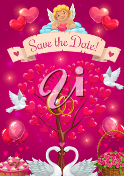 Save the date invitation, vector tree with hearts symbols of love. Vector cupid resting on cloud, couple of doves and engagement rings. Happy marriage card, swans and basket of rose flowers, balloons