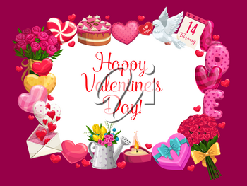 Valentines Day vector greeting card with love holiday hearts, romantic gifts and flowers. Love letter envelope, chocolate cake and candy, calendar, dove bird and rose bouquet, ribbon bow and candle