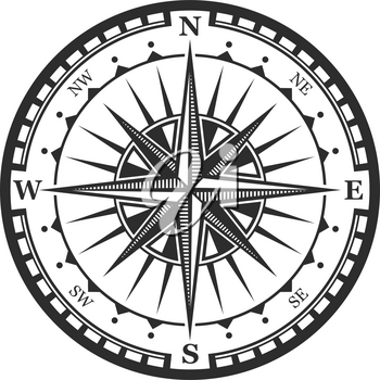 Old navigation compass heraldic icon. Vector Winds Rose symbol of nautical compass of marine and seafarer journey, ship sail navigator with direction arrow pointers to East, West or North and South