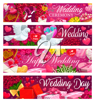 Wedding invitation, bride and groom kiss, diamond rings, heart balloons and flowers bouquets, vector banners. Marriage ceremony party gifts, kissing doves and wedding cakes with floral hearts