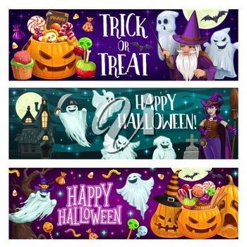 Halloween trick or treat banners with pumpkin, sweets and ghosts. Jack o lantern with candies, sorcerer with magic wand and witch with broom cartoon vector. Happy halloween party spooky posters
