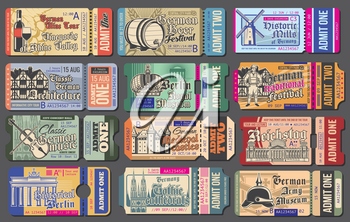 Travel tickets for Germany cultural events, vector templates set. National museum and vineyards, beer festival, historic mills, travel landmarks, brewery and music. Vintage tickets with sightseeing