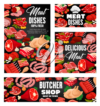 Meat food with green herbs and spices vector design. Pork sausages, beef steaks and salami, ham, chicken and bacon, lamb ribs, roast, barbecue frankfurter and burgers posters with parsley, bay leaves