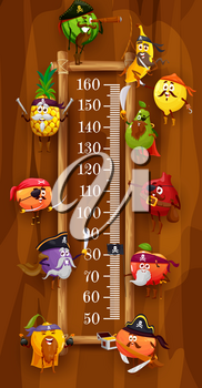 Kids height chart, pirates and corsair fruits, vector cartoon growth meter. Kids height chart or measure scale, funny fruit pirates orange and apple with saber, pear and pineapple, banana and plum